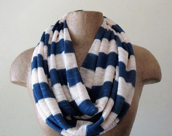 ON SALE - NAUTICAL Scarf - Striped Sailor Infinity Scarf - Sweater Scarf with Stripes - Navy Blue and Ivory Loop Scarf, Eternity Scarf