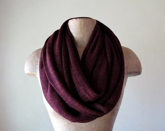 MULBERRY Infinity Scarf - Cozy Fashion Scarf - Maroon Sweater Knit Circle Scarf