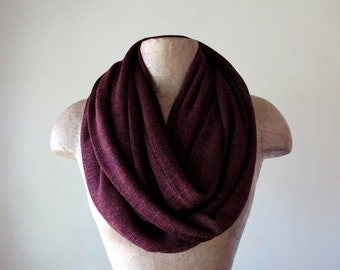 MULBERRY Infinity Scarf - Cozy Fashion Scarf - Maroon Sweater Knit - Cozy Circle Scarf