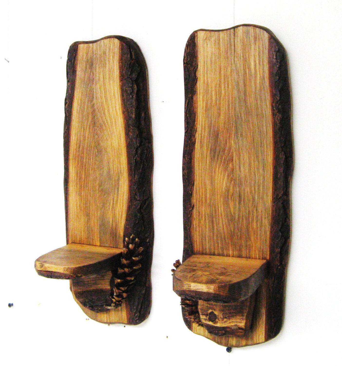 Wall Sconces With Shelf : RUSTIC WALL SCONCES Shelf Rustic Sconces A pair by Woodsoffoster