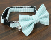 Cat Collar - Jade Seersucker Stripes - Matching Bow Tie and Flower Available