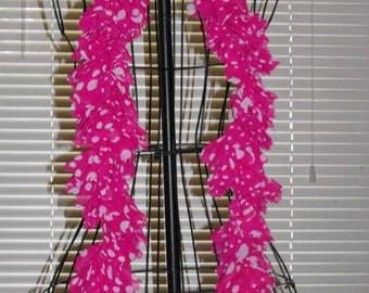 Hot Pink with White Polka Dots Silk Ruffle Scarf