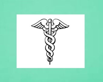 Temporary Tattoo - Caduceus - Medical Symbol - Doctor, Dentist, Nurse Gift