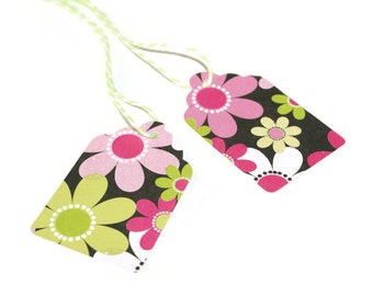 Colorful flower tags - set of 40 (TCP147)