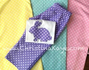 Easter Girls or boys polka dot bunny pajamas