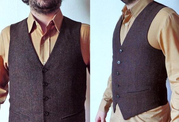 70 vintage homme gilet de costume dandy laine ray e brun fonc. Black Bedroom Furniture Sets. Home Design Ideas