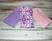 Baby Girl Purple Pink Burp Cloths Boutique Girl Burp Cloth Set - Purple Pink Baby