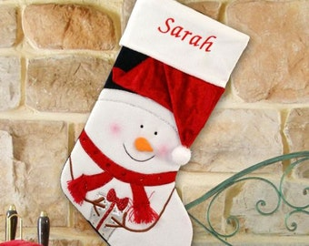 Red Hat Snowman Embroidered Stocking -gfyS74929