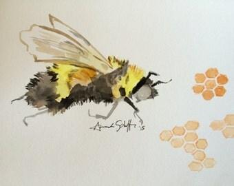 Honey Bee Original Artwork Watercolor Painting