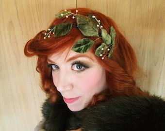 velvet leaf and pearls headband fascinator