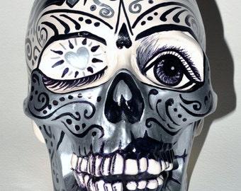 Silverheart lifesize Hand Painted Ceramic Skull
