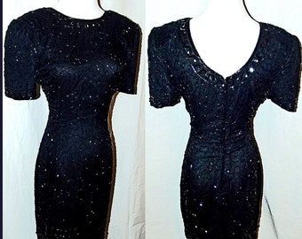 VTG 80s Black Silk Sequin Flapper ART DECO Beaded Wiggle Cocktail Party Dress S