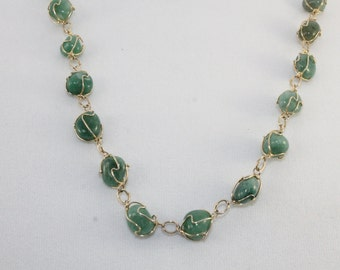Golden Wire Wrapped Jade or Jade Glass Necklace