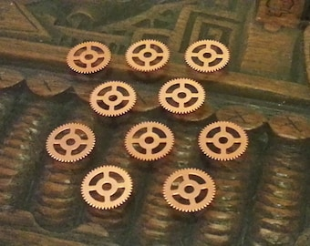 Copper Gears 15mm lot of 10 -- Steampunk and Scrapbooking Supplies