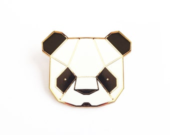 Panda Brooch - Black and White Geometric Metal Pin