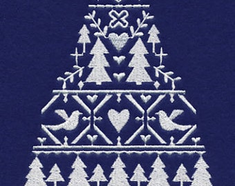 Nordic Christmas Tree of Love Embroidered Flour Sack Hand/Dish Towel