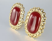 Vintage Givenchy Earrings jewelry Carnelian, Designer runway high end  jewelry clip on