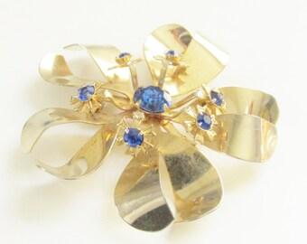 Vintage Blue Rhinestone Flower Brooch 60s