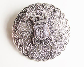 Victorian Brussels Coat of Arms Brooch Grand Tour Jewelry
