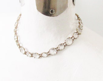 Vintage Art Deco Czech Crystal Necklace 1920s Wedding Bridal