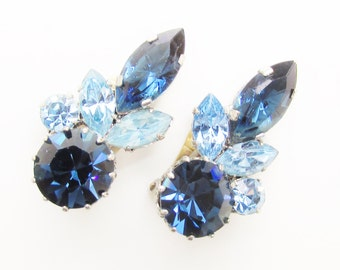 Vintage Austria Blue Rhinestone Earrings Clip on signed