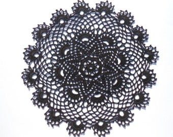 "Black crochet doily , 13 "" , round doily , black lace"