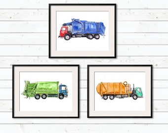"Set of Three Garbage Trucks - 8x10"" prints"