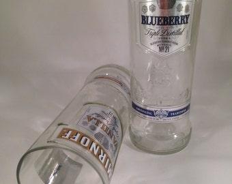 Smirnoff Vanilla and Blueberry Vodka Recycled Bottle Glasses - Set of 2