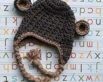 Crochet Newborn Monkey Hat with Earflaps