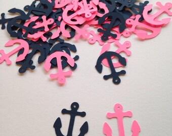 Navy Blue Hot Pink Anchor Confetti, Nautical Baby Shower, Nautical Confetti,  Anchor Cut Out, Pink Confetti, Nautical Wedding