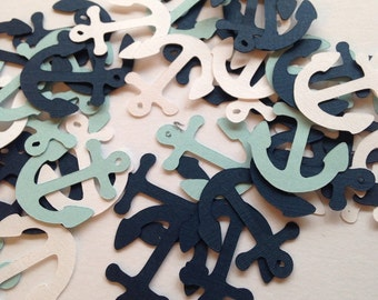 100 Light Blue White Navy Anchor Confetti, Nautical Baby Shower, Nautical Theme, Nautical Confetti, Anchor Decor, Nautical Wedding