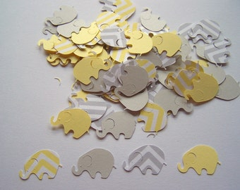 200 Yellow Gray Chevron Elephant Confetti Cutout Punch Die Cut Embellishment Scrapbook