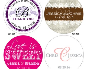 280 - 1.25 inch Personalized Glossy Wedding Stickers Labels - hundreds of designs to choose from - change designs to any color or wording