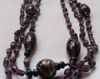 Vintage Plum Purple Glass Bead Triple-Strand Necklace