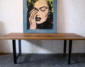 Beautiful Minimal Industrial Reclaimed Wood Table. made in Los Angeles.