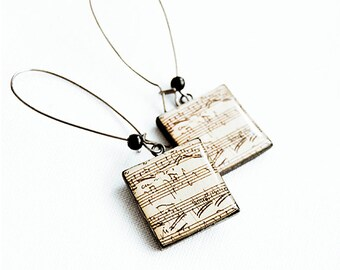 Music note earrings sheet music jewelry, square earrings music note jewelry gift for musician