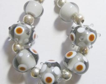 7 Handmade Lampwork Glass Beads - Grey