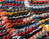 Round Rag Rug Modern Nursery Orange Gray Teal Navy Blue Yellow Green Autumn Circular Upcycled T Shirt 43in diameter --US Shipping Included