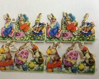 SALE 2 sheets for the price of 1 !  Vintage/Antique Bunnies w/Eggs Diecut Victorian Scrap