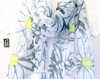Silk Scarf Handpainted, Fall Scarf, Japanese Cosmos Garden Scarf, Silk Chiffon Scarf,  Silk Scarves Takuyo, 10x59 inches. Made to order.