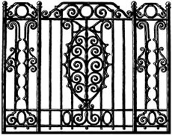 ornate wrought iron gate. wrought iron rail decorative ornate gate fence french quarter new orleans digital image vintage o