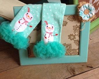 Aqua snowman leg or arm warmers