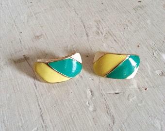 SALE - Vintage Striped Enamel Earrings