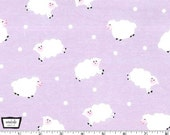 Little Lambs - Lavender  Cotton Flannel Fabric from Michael Miller