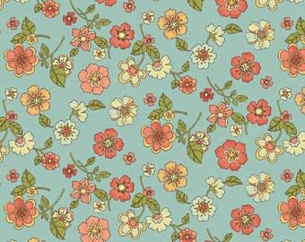 Indian Summer - Pale Blue Summer Blossom from Benartex
