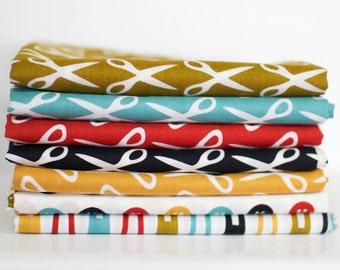 Mad Mend Organic Cotton Fabric Bundle -  Fat Quarter Bundle - 7 quarter fat pieces (B308)