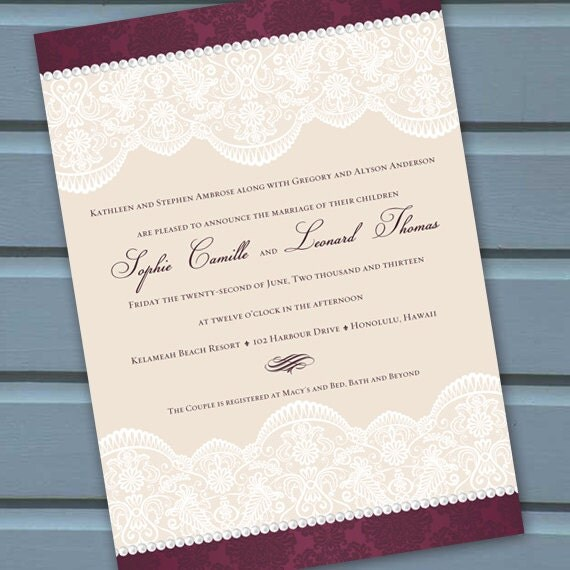 wedding invitations, vintage wedding invitations, cranberry wedding invitations, cranberry and lace wedding invitations, IN215