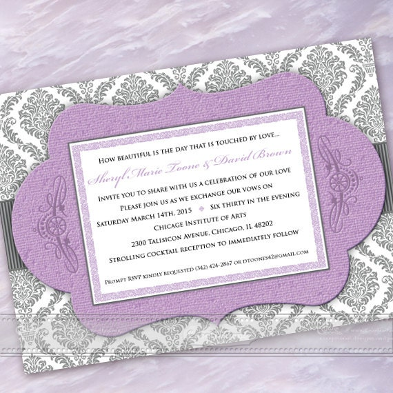 wedding invitations, bridal shower invitations, lavender and silver damask wedding invitation, lavender bridal shower invitations, IN366