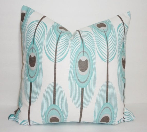 Decorative Pillows Feather : Blue & Grey Feather Print Decorative Pillow Cover Feather