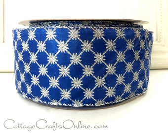 "Christmas Wired Ribbon, 2 1/2"",  Midnight Blue with Silver Diamond Pattern - THREE YARDS - Offray ""Blue Diamond"" Craft Wire Edged Ribbon"
